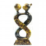 Z PLUS Batik Wood Christmas Gift Xmas Decor Figurine Lover Couple Statue Model 6
