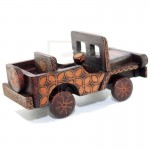 Z PLUS Batik Wood Christmas Gift Xmas Decor Miniature Vintage Car Jeep Willys