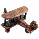 Z PLUS Batik Wood Christmas Gift Xmas Decor Miniature Vintage Propeller Biplane