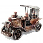 Z PLUS Batik Wood Christmas Gift Xmas Decor Miniature Antique Car Ford Model T