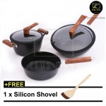 Z PLUS Set of 3 Black Wood Non Stick Iron Cookware Cooking Wok Pot Pan Combo (5 pieces)