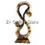 Z PLUS Batik Wood Christmas Gift Xmas Decor Figurine Lover Couple Statue Model 8