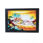 [32cmx38cm] Z PLUS Batik Painting Jeffri Village Sunset Scenery Home Deco Christmas Gift