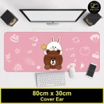 Z PLUS Line Cartoon Large Gaming Thickened Desktop Laptop Keyboard Mouse Pad (Ear)