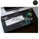 Z PLUS Line Cartoon Large Gaming Thickened Desktop Laptop Keyboard Mouse Pad(Let'sGo)
