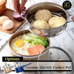 Z PLUS 1.2L Multi Purpose Non Stick Ceramic Electric Cooker Pot Soup Fry Egg Steam Tray