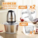 SANDE Automatic Electric Meat Grinder Stainless Steel 304 Glass Bowl Kitchen Food Processor 三的绞肉机
