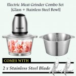 Z PLUS SD Set Electric Meat Grinder Blender Juicer Stainless Steel Glass Bowl 2 blade