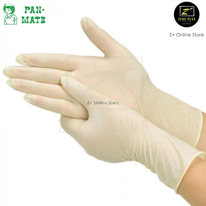 Malaysia Brand] Pan-Mate 100 pcs Latex Disposable Gloves Pre