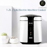 1.2L 1.8L Portable Non Stick Electric Mini Double Layer Rice Cooker Pot SUS304 Steam Bowl (White)