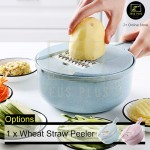 Z PLUS Set of 10 Kitchen Shredder Wheat Straw Peeler Fruit Potato Onion Cutter Chopping Grater
