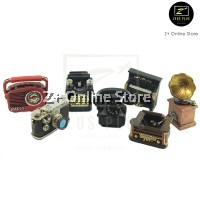 Z PLUS Retro Miniature Nostalgic Resin Crafts Gifts Decoration Mini Prop Camera Radio Telephone Phonograph Player Piano