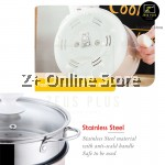 Z PLUS 1.8L Non Stick Electric Cooker Pot Oil Fry Stir Boil Steamboat Handle Steam Tray