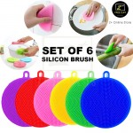 Z PLUS Silicon Brush Set of 6 Kitchen Cleaning Sponge Dish Pan Pot Wash Facial Scrubber Tool