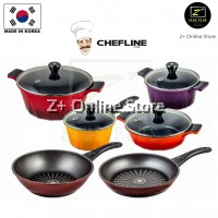 Z PLUS Chefline Ecolite 6 pcs Ceramic Pot Frying Pan Wok Pan Korean Cookware Set