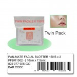 Pan-Mate Facial Oil Absorbent Paper Remover Sheets Blotter Oily Skin Pore Single Twin Pack 150'S  脸部吸油纸