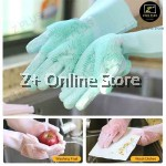 Z PLUS 1 Pair Double Sided Silicone Glove Kitchen Food Cleaning Dish Car Wash Facial Massage Scrub