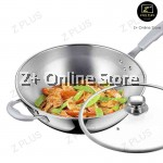 Z PLUS 30cm Premium Stainless Steel SUS304 Double Handle Cooking Frying Pan with Lid