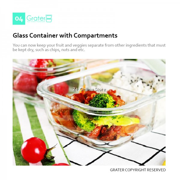Grater Set of 2 Rectangle Microwave Heat Resistant Glass Container Food Storage Glassware Lunch Box Bag Cutlery