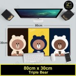 Z PLUS Line Cartoon Large Gaming Thickened Desktop Laptop Keyboard Mouse Pad (Triple Bear)
