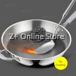 Premium Stainless Steel Non Stick Less Smoke Anti Scratch Cook Fry Beehive Wok Lid