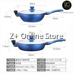 Royal Blue Premium Double Handed Thick Base Aluminium Non Stick Cooking Wok Pot Frying Pan with Stainless Steel Cover Lid