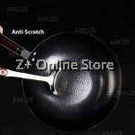 32cm Traditional Forged Cast Iron Cooking Pot Frying Pan Wok Non stick No Coating Less Smoke Lid