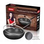 32cm Traditional Light Forged Cast Iron Cooking Pot Frying Pan Wok Non stick No Coating Less Smoke Lid