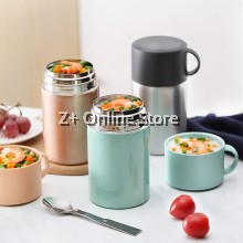 600ml Stainless Steel SUS304 Food Storage Keep Warm Vacuum Thermos Flask Container Mum Baby Food Vacuum Cup Lunch box Fast food Instant noodle bowl Vacuum Insulated Pot With Free Spoon