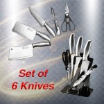 Set of 6 Knives Set Combo Stainless Steel Knife Scissors Knife Stand Rack Slice Food Preparation Kitchen Accessories