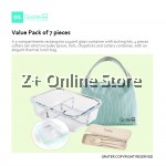 Grater 3 Compartments Microwave Heat Resistant Glass Container Food Storage Lunch Box Thermal Bag Anti Leak Chain Customize Office