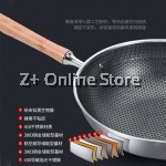 34cm Premium Stainless Steel Non Stick Cooking Frying Beehive Wok Less Smoke Scratch Resistant Standable Lid