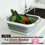 Large Thickened Extendable Collapse Kitchen Silicon Wash Rice Vegetables Fruits Ingredients Basket Container