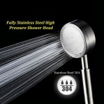 Full Stainless Steel SUS304 Bathroom 300 Holes High Pressure Hand Shower Head Booster Nozzle Water Saving Anti Leak Scald