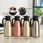 Stainless Steel 1.9L Thermo Pot Flask Vacuum Pot Coffee Pot Hot Water Bottle Tea Pot Dispenser Inner Glass Wide Mouth