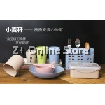 Compartmental Wheat Straw Lunch Box Microwave Food Storage Eco Food Container Recycle Bento With Cutlery (Pink)