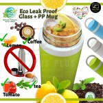 Eco-Friend Eco Leak Proof Glass cum PP Mug Tumbler Bottle for Acidic Drink Tea Coffee Lemonade Chocolate Drink