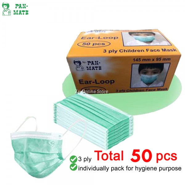 Pan-Mate 50 pcs/100pcs 3ply Surgical Mask Disposable Haze Mask Kids Face Mask Hospital Clinical Sneeze Anti Pollution Dust Protect