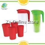 Eco-Friend Lockable Food Grade Plastic Jar Cup Set 1.5L Water Jug and Set of 4pc 380ml Family Cup