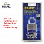 SOLEX Laminated Padlock House Door Lock Safe Key Security Office Stainless Steel NO:LM40/50