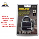 SOLEX Weather Resistant House Door Lock Safe Key Security Office Padlock NO:LM40/50WP