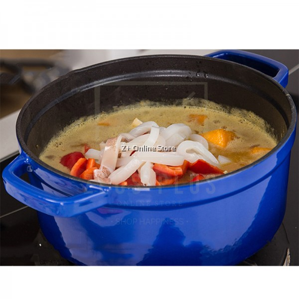26cm Enamel Dutch Oven Non Stick French Casserole Stew Soup Enameled Cast Iron Pot Colourful Thickened Cooking Pot for all Stove Hub Types Camping Cast Iron Fondue 4L 5L