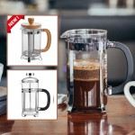 French Press Coffee Pot Stainless Steel Glass Coffee Maker Bamboo Wood Coffee Press Tea Pot Milk Frother Foam Maker