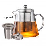 450ml High Quality Glass Tea Pot Stainless Steel Infusion Filter Flower Teapot Herbal Tea Leaf Coffee Pot