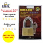 [FREE LASER MARKING] SOLEX Padlock Security Anti Corrosion Anti Yanking Stainless Steel Safe G5 40/45/50/55MM Brass Long Shackle