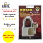 [FREE LASER MARKING] SOLEX Padlock G5 40/45/50/55 MM Security Lock Key Safe Chrome Long Shackle