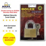 [FREE LASER MARKING] SOLEX Padlock Security Safe Stainless Steel House Lock G5 40/45/50/55mm Brass