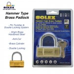 SOLEX Hammer Type Security Safe Brass Protection Double Locking Anti Cut Padlock H60/70