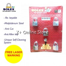 [FREE LASER MARKING] SOLEX Padlock Safety Security Lock G5 40/45/50/55MM 5 Key Alike System-CR