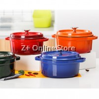 24cm Enamel Dutch Oven Non Stick French Casserole Stew Soup Enameled Cast Iron Pot Colourful Thickened Cooking Pot for all Stove Hub Types Camping Cast Iron Fondue 3L 4L